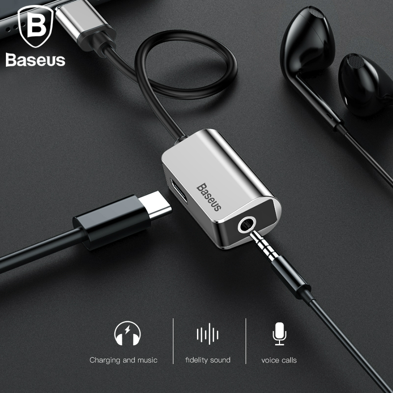 Baseus Type-C Aux Audio Cable Adapter USB Type C to 3.5mm Earphone Jack Fast Charger Adapter For Xiaomi Mi 6 Note 3 Mix 2 Huawei