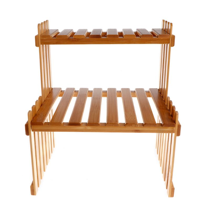 Plant Shelf Flower Display Stand Bamboo Wood Storage Rack Garden Organizer qiang