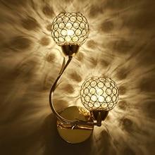 الفن الحديث عالية الجودة الكريستال E27 الجدار مصباح الأوروبي الفاخرة نمط وحدة إضاءة LED جداريّة ضوء للمنزل داخلي نوم غرفة المعيشة الديكور