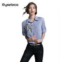 Women Blue Vertical Strip Blouses New Floral Embroidery Shirt Autumn Casual Work Europe Style Basic Blouse