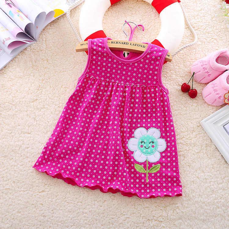 אחת גודל קיץ כותנה רב-סגנון עגול צוואר רצועות שרוולים בנות שמלת תינוק תינוק קיץ שמלת פרחי תות פרפר
