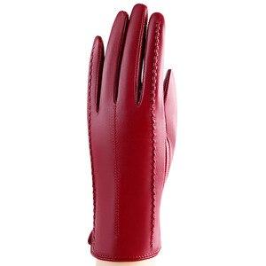 Image 2 - Zimowe oryginalne skórzane rękawiczki rękawice z owczej skóry dodaj aksamitne pogrubienie krótkie rękawiczki telefingers damskie rękawiczki do ekranu dotykowego MLZ005