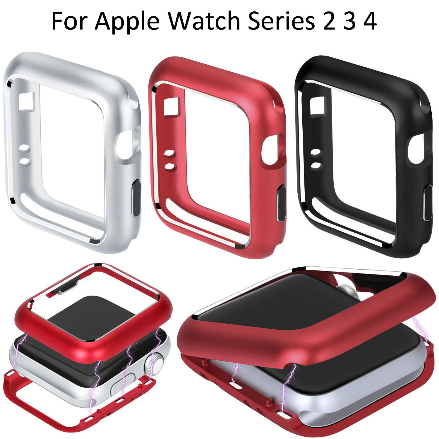 Magnetic Aluminum Metal Frame Alloy Cover for Apple Watch Series 4 Case 44mm 40mm Band iWatch 2 3 Built-in Magnet Case 38/42mm for iphone x case magnetic metal frame tempered glass back magnet flip cover
