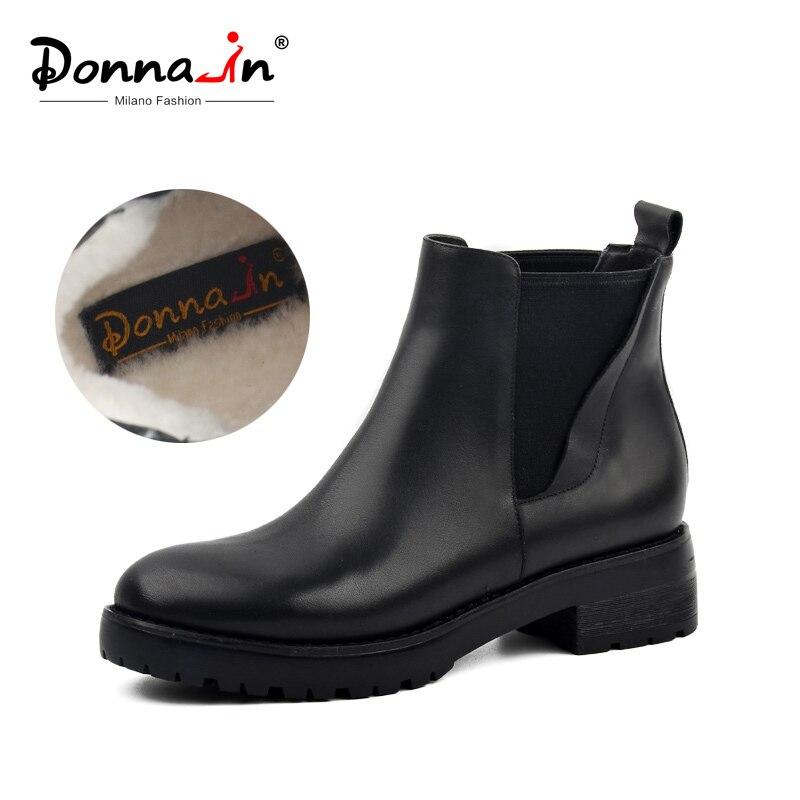 Donna-in/женские зимние сапоги из натуральной кожи, зимние сапоги на натуральном меху, женские непромокаемые черные сапоги на платформе, женска...