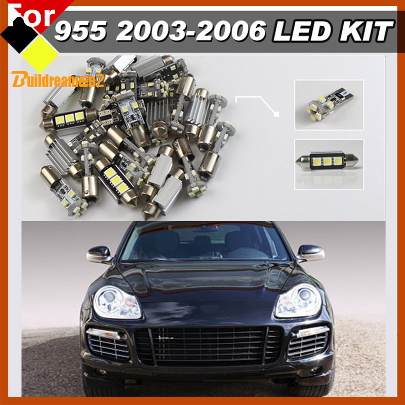 Buildreamen2 Car Interior Map Dome Luggage Courtesy Lights LED Package Kit Bulbs White 12V For Porsche Cayenne 955 2003-2006