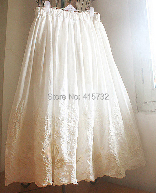 Free Shipping 2019 New 100% Cotton Embroidery Flower Crochet Ivory White Women Skirt Summer Long mid-calf Elastic Waist Skirts