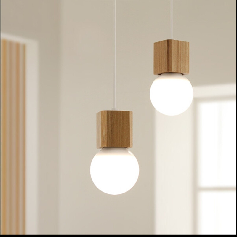 Pendant Lights Personalized solid wood single head modern simple dining lanterns creative Nordic restaurant bar counter cafe
