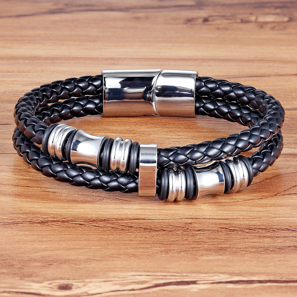 New Fashion Stainless Steel Bracelet Genuine High Quality Classic Friendship Leather Bracelets & Bangles For Men Jewelry