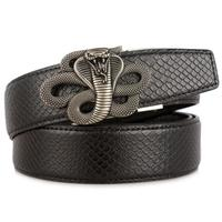 Automatic Buckle Genuine Leather Cobra Belt Unique Snake Serpentine Jeans Belts Luxury Waistband Quality Assurance ZLB378
