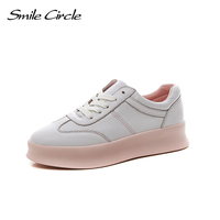 Smile Circle 2018 New Genuine Leather Sneakers Women Lace Up Flats Shoes Women Casual Shoes Round