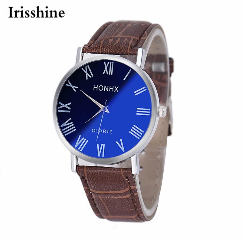 Irisshine i0866 brand luxury Men watches montre homme Luxury Fashion Men Leather Quartz Analog Wrist Watch <font><b>Blu-ray</b></font> <font><b>Mirror</b></font>