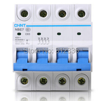 Free Shipping Two years Warranty C63 4P 63A 4 pole domestic C type small air switch unipolar Electric shock protection