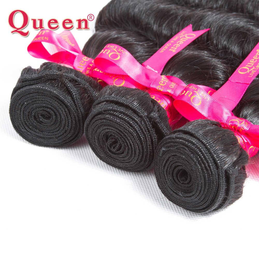 Productos para el cabello de la Reina pelo profundo suelto de la onda más paquetes de armadura de pelo 100% brasileño Remy extensiones de cabello humano 4 unids/lote ENCUENTRO DE CIERRE