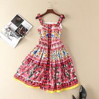 New 2018 spring summer runway brand rose patterns print women casual dress spaghetti strap cute buttons fit and flare dresses