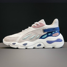 2019 New Sports Women Single Shoes Leisure Air-permeable Running High Quality Genuine Leather Flats Chunky Sneakers