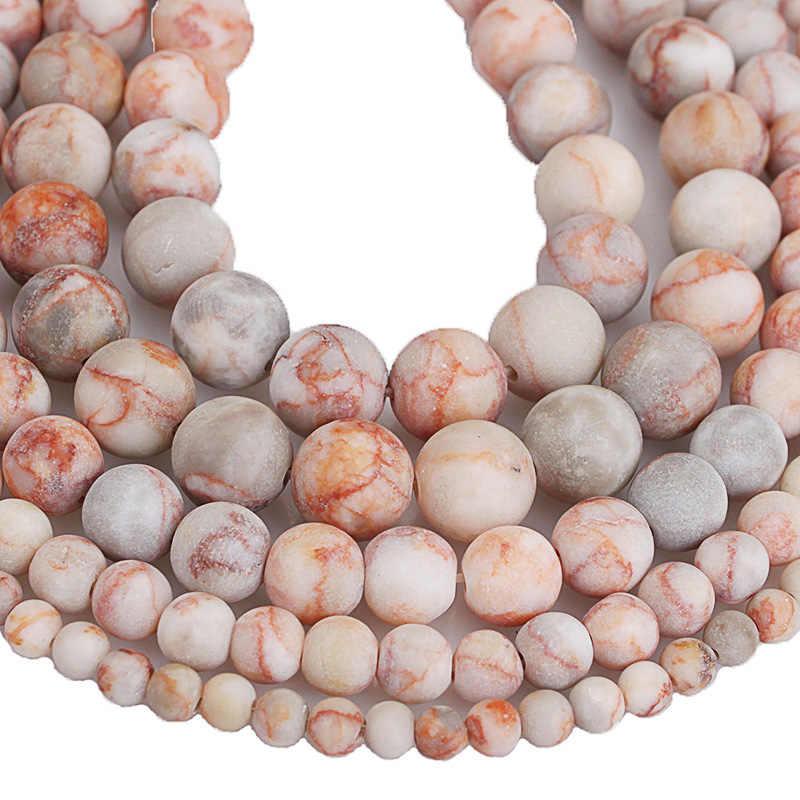 Naturstein Perlen Matte Frost Rote Netzwerk Red Zebra Stein Runde Lose Perlen 4 6 8 10 12 MM Für diy Schmuck Armband Machen