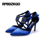 Red Heels For Women Pumps Shoes Spring Brand Woman Spring Buckle Extreme High Heel Ankle Strap
