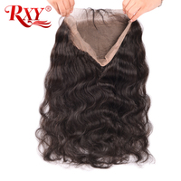 RXY 360 Lace Frontal Closure with Baby Hair Brazilian Body Wave Natural Black Remy Human Hair Closure Pre Plucked Hairline