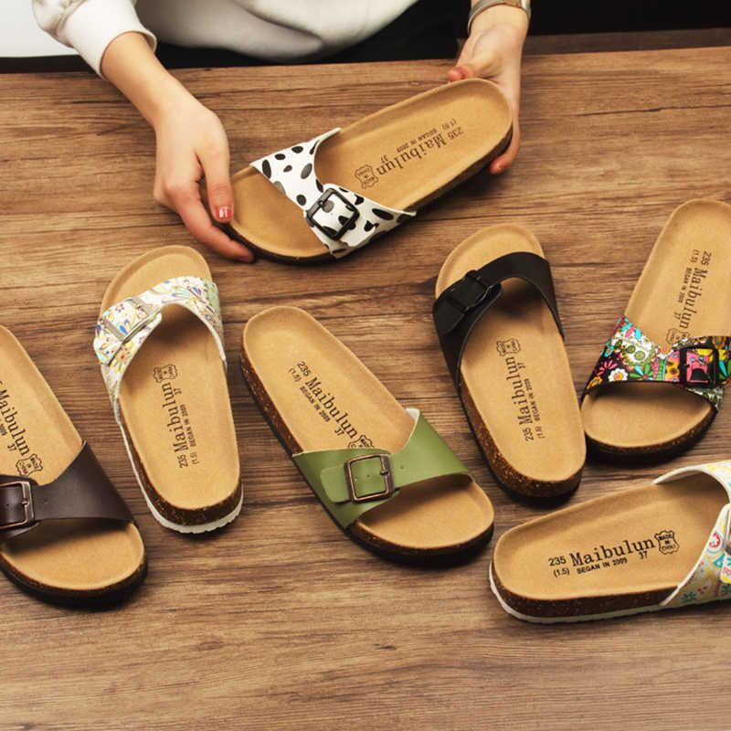 895018066514 korean style couple cork sandals women brief buckle strap decorate beach  sandals ladies summer soft microfiber