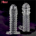 Reusable Penis Sleeve Cock Ring Delay Ejaculation Sex Toys for Men Silicone Condom Penis Extensions Men Sex Products Erotic Toys