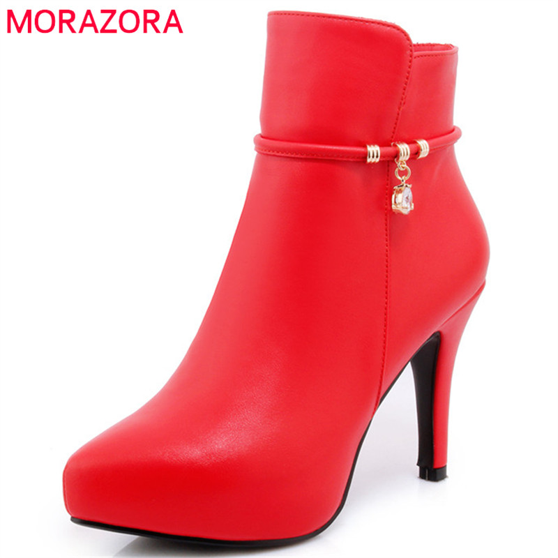 MORAZORA PU soft leather boots female fashion shoes sexy lady womens boots zip thin heels shoes