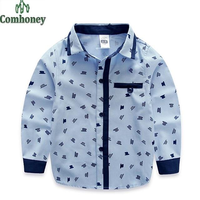 597e080a Boys Shirts Blouse Korean Children School Blouse Cotton Kids Shirts  White&blue Hat Pattern Shirts Long-sleeve Gentleman Clothes