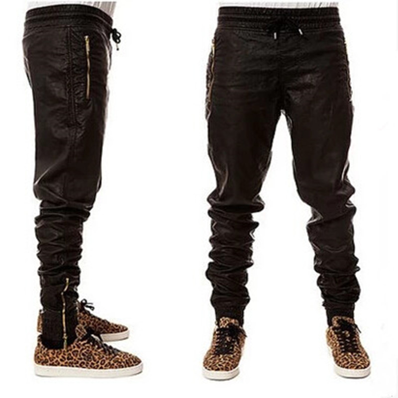 ABOORUN Mens Hip Hop Jogger Pants Black PU Leather Harem Pants Loose Side Zipper Pencil Trousers P2003