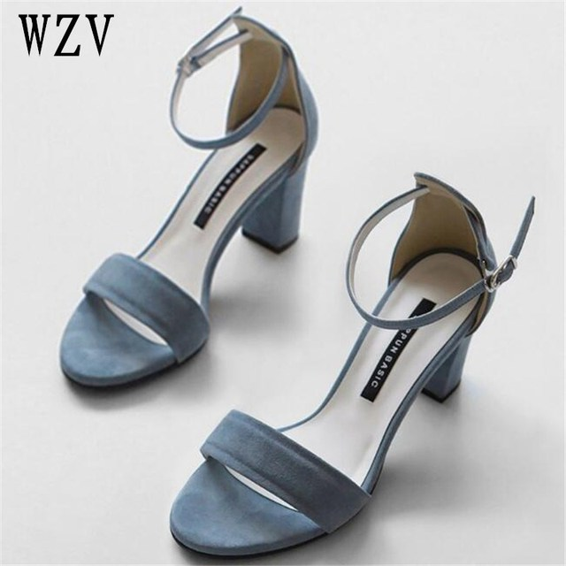 120c86d2b5e Women Sandals Summer Open Toe Women s Sandals Low Block Heel Women Shoes  Black Blue Shoes Ankle Strappy Size 33-40 W51