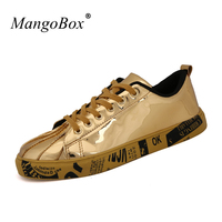 New Trend Gold Men Platform Sneakers Silver Womans Skate Shoes Lace Up Boys Footwear Low Top
