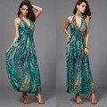 Leite De Seda Chiffon Vestidos de Cintura Fina Halter Com Decote Em V Impressão Pavão Colorido Boemia Sem Mangas Praia Vestido Longo