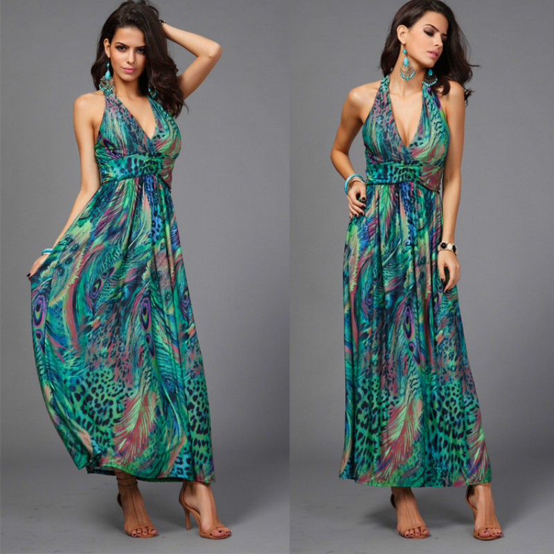 50299d7b5d8d Milk Silk Chiffon Dresses Slim Waist Halter V neck Peacock Printing  Colorful Bohemia Sleeveless Long Beach Dress-in Dresses from Women s  Clothing on ...