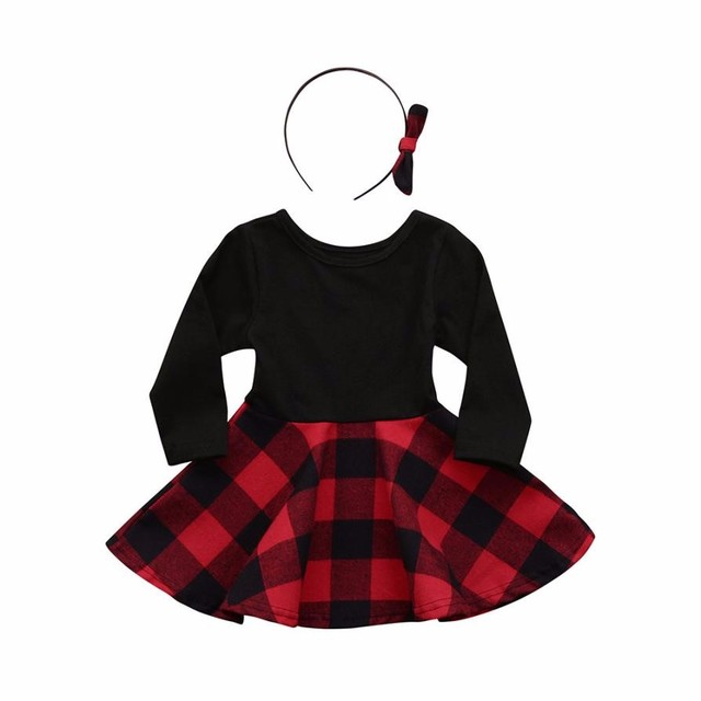 5839a19030a7d US $2.85 41% OFF|2018 Kids Dresses For Girls Infant Toddler Girls Plaid A  Line Dress+Headbands Clothes Outfits Set fashion baby princess dress-in ...