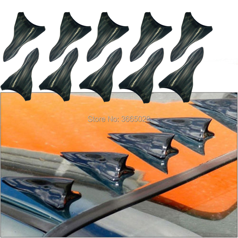 10Pcs Universal Mini Shark Fin Diffuser Vortex Generator Car Spoiler Roof Bumper Wing Decoration for Car Carbon pattern