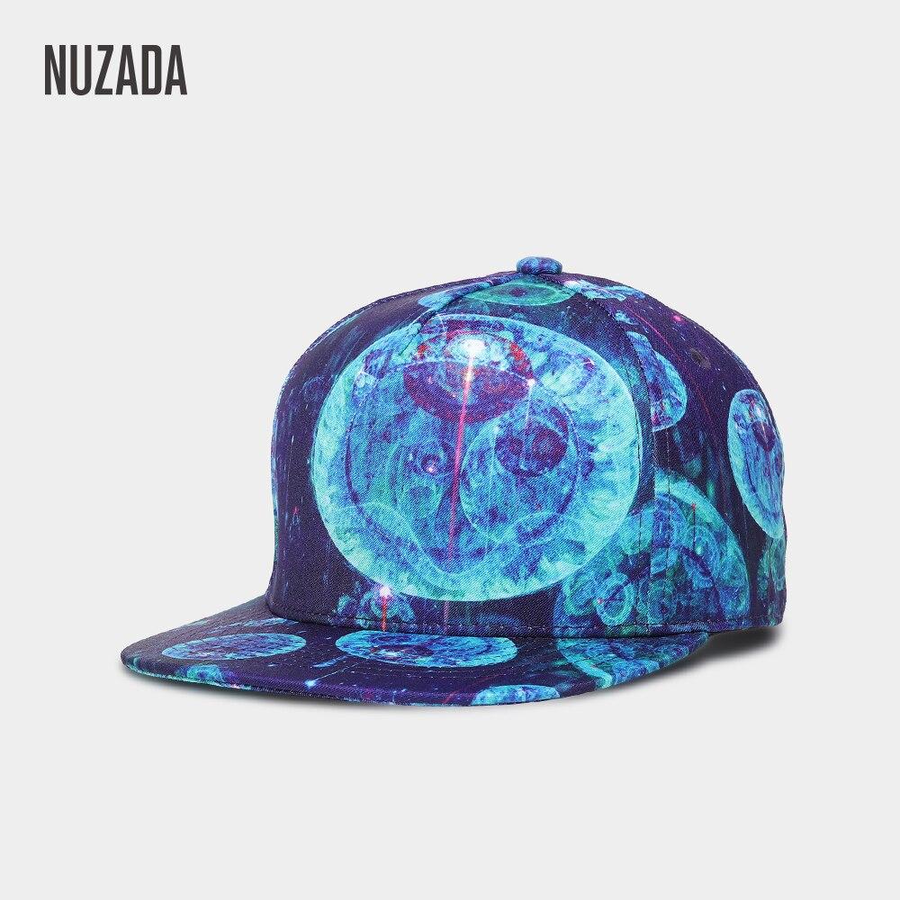 Marca NUZADA 3D estampado hombres mujeres pareja Hip Hop Cap ciencia  ficción patrón diseño único Primavera db8c8964345