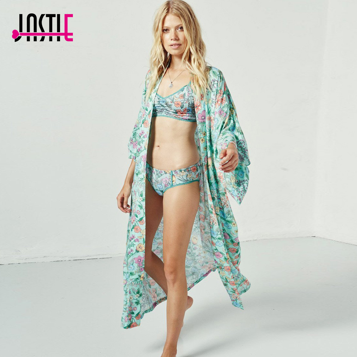 Jastie Gypsy gorgeous Sayulita Kimono Boho Floral print Women Jacket Shirt Drawstring Tie Waist Casual Beach Cardigan Long Top