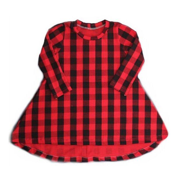 15d7a135c5df03 Kinderen Baby Meisjes Peuter rode Tartan Plaid Katoen Prinses Tutu jurk O  Hals Onregelmatige Party Toevallige