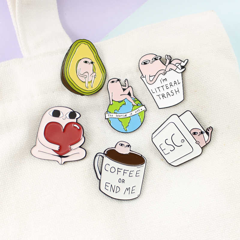 Del fumetto Ketnipz Spille 6 stili Little Pink Mostro Ketnipz Meme Divertente Caffè Avocado Dello Smalto Del Cuore pins Monili Spille Regalo