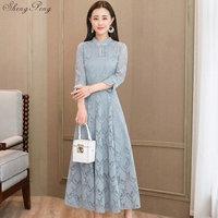 Lace Slim Qipao Long Chinese Evening Dress Elegant Women Wedding Party Dresses Summer Cheongsam Vintage Q315