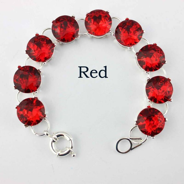 Classic Brand Designer Jewelry Glass Crystal Bracelets for Women Fashion Wedding Party Silver Dot Bracelets Wholesale 15*15MM