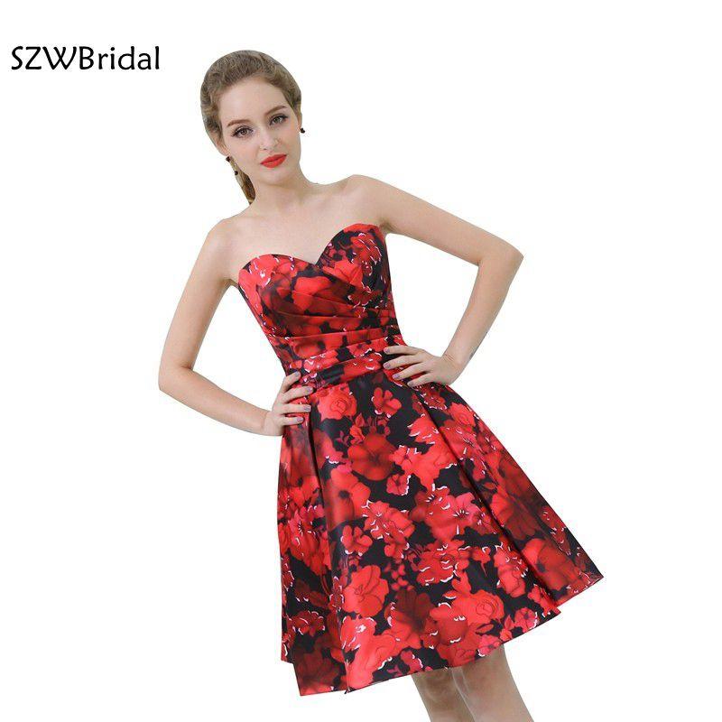 New Arrival Sweetheart Red Cocktail Dresses 2020 Vestido De Festa Curto Flower Gown In Stock Jurken Cocktail Dress