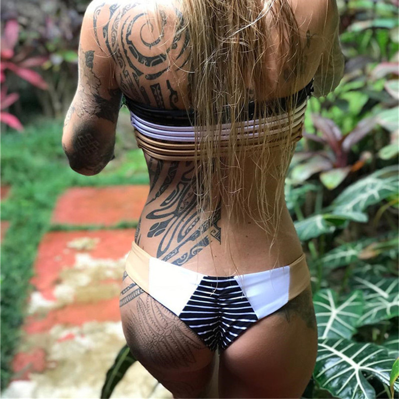 2020 New Sexy Bikinis Women Swimsuit Low Waist Bathing Suits Swim Off Shoulder Bikini Set Swimwear Hollow Out Top Bandeau Bikini