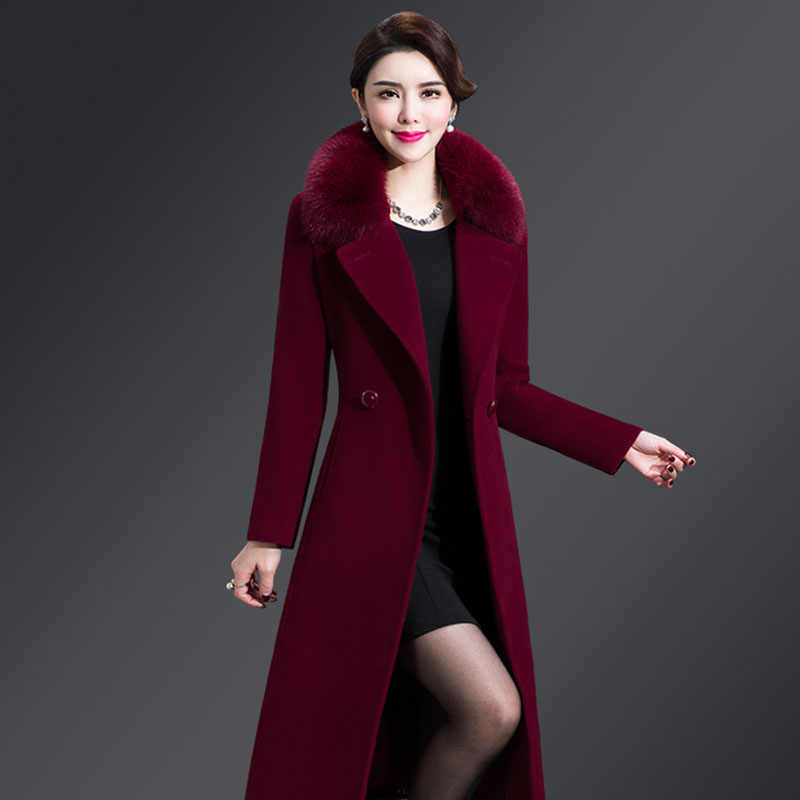 Cashmere Woolen Coat Women Winter New Plus Size Warm Double Breasted Fur Collar Long Woolen Coat Female Jacket 5XL 2019 164-238