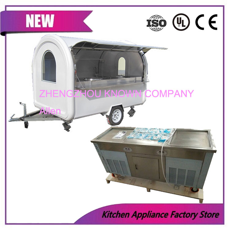 color choices ice cream food cart trailer with fried ice cream machine CFR price image