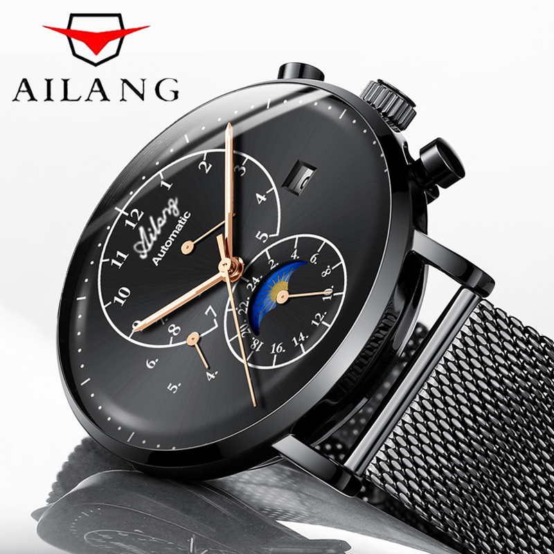 Uhren Männer AILANG Top Marke Luxus männer Sport Wasserdichte mechanische Uhr Mann Schwarz Voller Stahl Military Automatische armbanduhr-in Mechanische Uhren aus Uhren bei  Gruppe 1