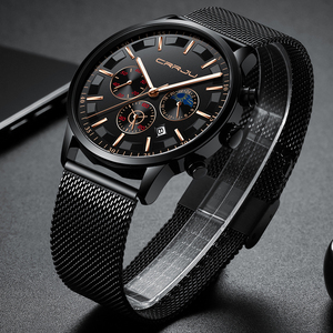 Image 3 - New crrju Men Watches Top Brand Luxury Quartz Clock Chronograph Fashion Mesh Steel Watch Waterproof Sport Mens Watch Saat 2019