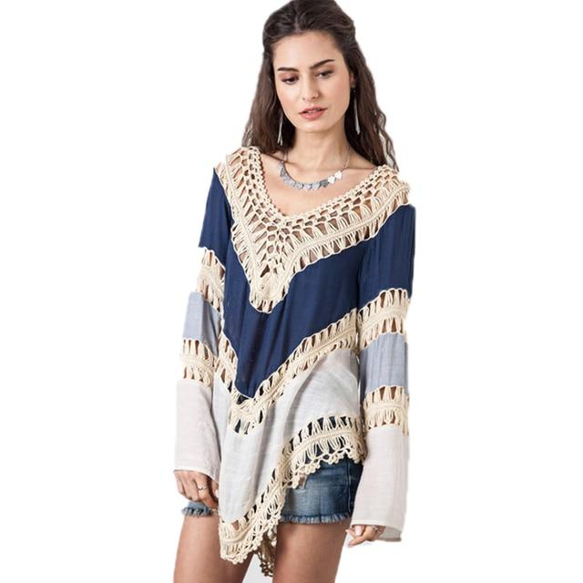 New Fashion Boho V Neck White Lace Crochet Blouses Plus Size Autumn