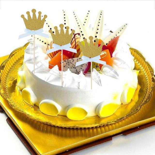 10pcs /12pcs Crown Bow Glitter Snowflake Cupcake Toppers Picks ...