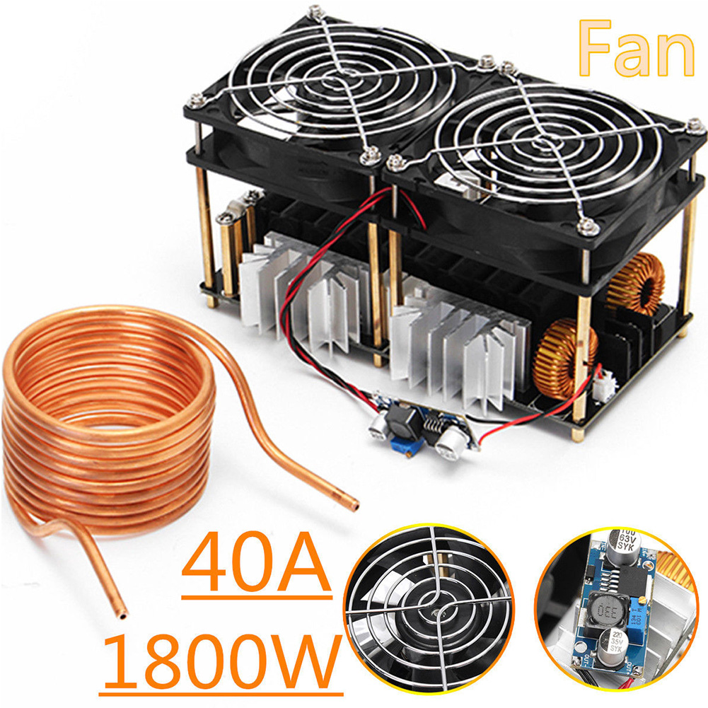 1800W ZVS Low Voltage Electronic Induction Heating Board Coil Stable DIY Black Durable Dual Fans Module