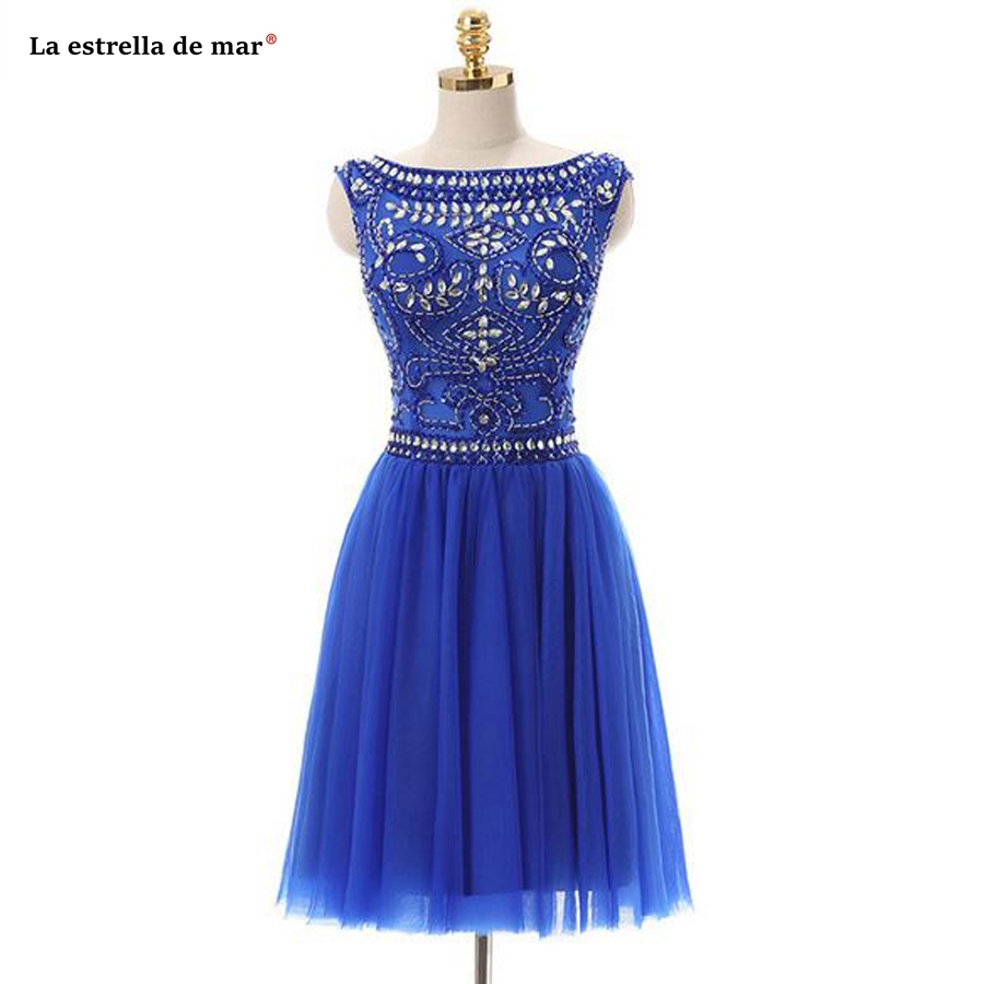 Vestidos coctel mujer 2019 tulle crystal cap sleeve a line royal blue   cocktail     dresses   knee length robe   cocktail   luxury