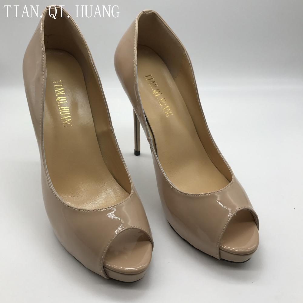 New Arrival Womens Pumps  Genuine leather Apricot High Heels Shoes Woman High Heels Wedding Size :35-42 Brand TIAN.QI.HUANG 2